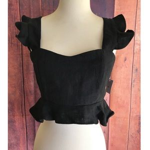Style Mafia Crop Top 100% Linen Black Medium